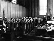 German  Rocket Scientists and Engineers Sworn in as US Citizens as Part of  Project Paperclip, 11 November, 1954, Redstone Arsenal, HSV AL. Courtesy  of Wikimedia Commons.